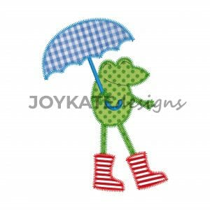 Frog with Rain Boots and Umbrella Applique Design for Machine Embroidery