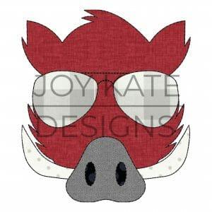 Razorback Face with Sunglasses Applique Design for Machine Embroidery
