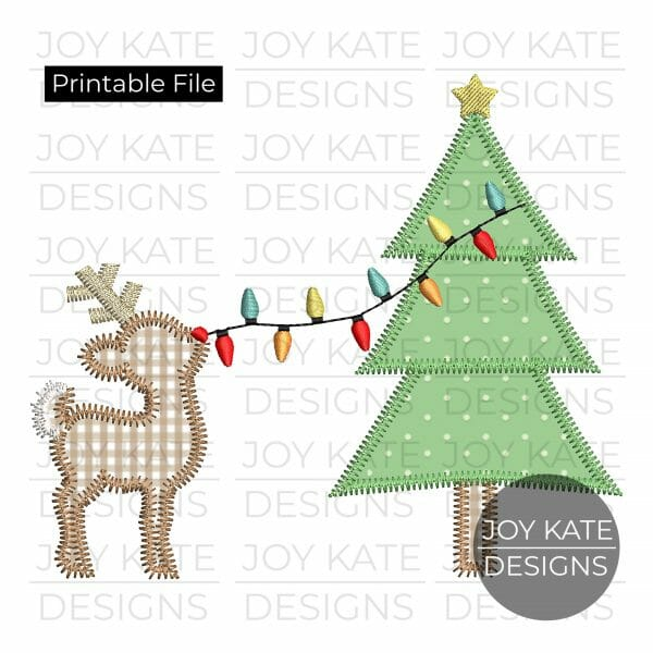 Reindeer with Christmas Tree and Lights PNG clipart image