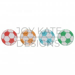 Vintage sketch light fill soccer balls embroidery design