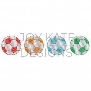 Vintage sketch light fill soccer balls embroidery design