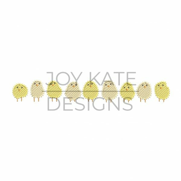 Light Fill Row of Baby Chicks Sketch Machine Embroidery Design