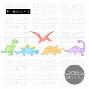 Row of Five Dinosaurs Watercolor PNG image