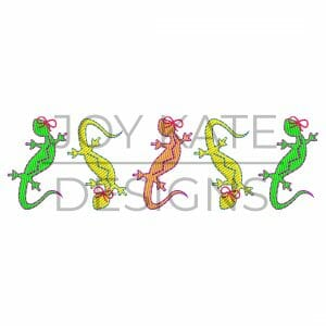 Row of Lizards with Bows Embroidery Design