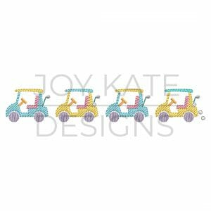 Mini Golf Carts Light Fill Stitch Machine Embroidery Design