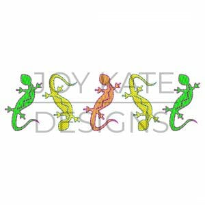 Row of Lizards Embroidery Design