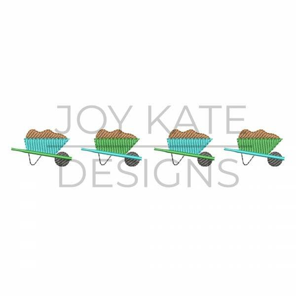Row of four wheelbarrows embroidery design