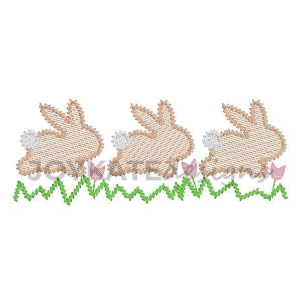 Vintage Beach Stitch with Light Fill Easter Bunnies Hopping Over Grass and Tulips.