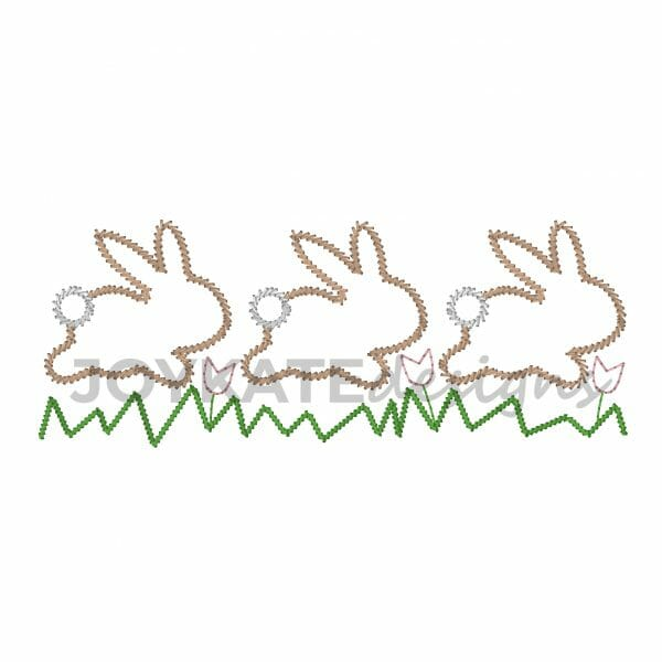 Vintage Stitch Easter Bunnies Hopping Over Grass and Tulips