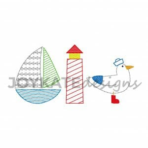 Bean Stitch and Light Fill Sailing Three in a Row Design for Machine Embroidery