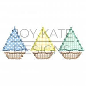 Sailboat Trio Applique Design for Machine Embroidery