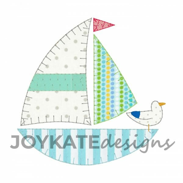 Blanket and Bean Stitch Sailboat Applique Design for Machine Embroidery