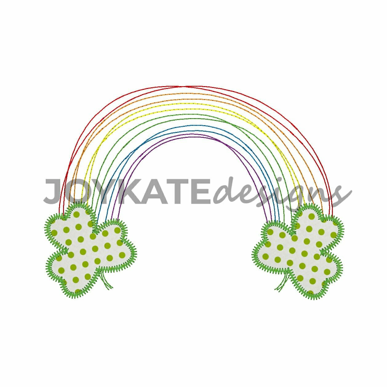 quick bean stitch rainbow with zigzag stitch clover leaves for st patricks day