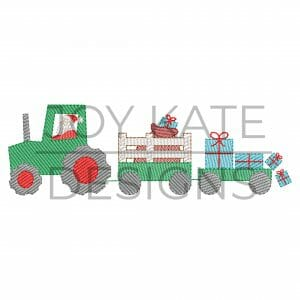 Sketch Christmas Farm Tractor with Santa and Presents Embroidery Design
