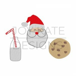 Santa Milk and Chocolate Chip Cookie Embroidery Design Set