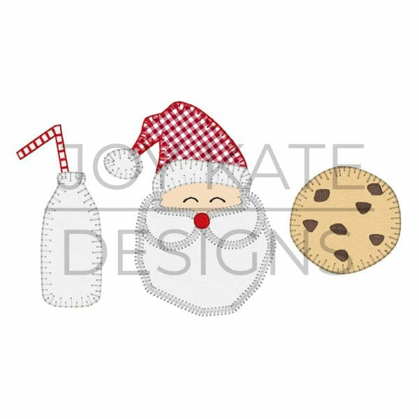 Santa with Milk and Cookies Applique Design for Machine Embroidery
