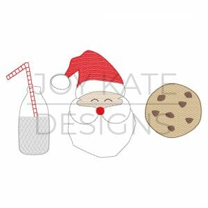 Light fill/low density Santa with milk and chocolate chip cookie Christmas embroidery trio