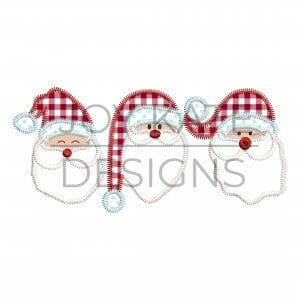 Three in a row Santa applique design for machine embroidery