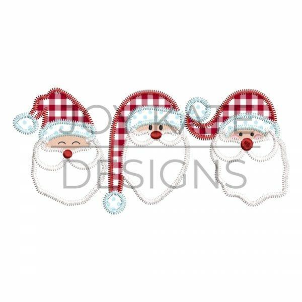 Three in a row Santa applique design for machine embroidery