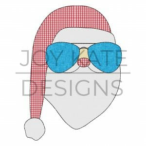 Santa Claus with Sunglasses Applique Design for Machine Embroidery