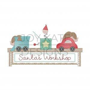 Elves working on toys in Santa's workshop Vintage sketch stitch embroidery design