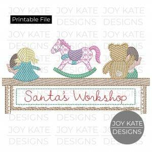 Santa's elves making girl toys PNG clipart image