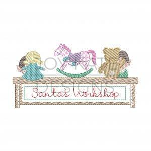 Elves working on girl toys in Santa's workshop Vintage sketch stitch embroidery design