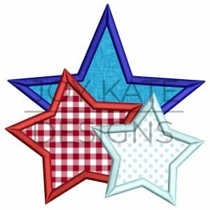 Three stars satin stitch applique design for machine embroidery
