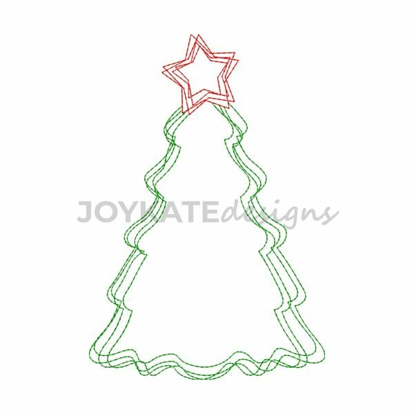 Vintage Bean Stitch Christmas Tree with Star Machine Embroidery Design