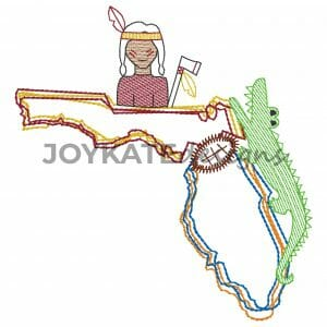 Vintage Stitch State of Florida with Seminole, Gator, and Football