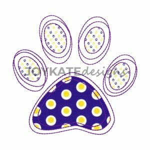 Vintage Tiger Pawprint Applique Design for Machine Embroidery