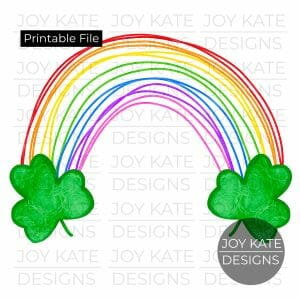Rainbow with shamrocks watercolor PNG clipart image