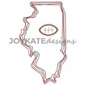 Vintage Stitch State of Illinois with Football Design for Machine Embroidery