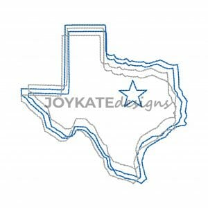 Vintage Stitch Outline of Texas with Star over Dallas Design for Machine Embroidery