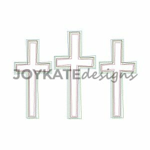 Three in a Row Vintage Stitch Easter Crosses Design for Machine Embroidery