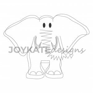 Quick Stitch Elephant Design for Machine Embroidery. Vintage bean stitch outline.