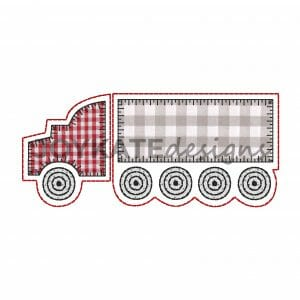 Semi Truck Applique for Machine Embroidery. Eighteen-Wheeler Big Rig Truck