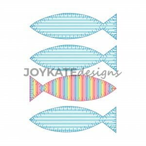 4 in a Row Blanket/E-Stitch Fish Applique Designs for Machine Embroidery