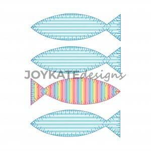 4 in a Row Blanket/E-Stitch Fish Applique Designs for Machine Embroidery