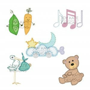 Set of 5 Baby Applique and Machine Embroidery Designs