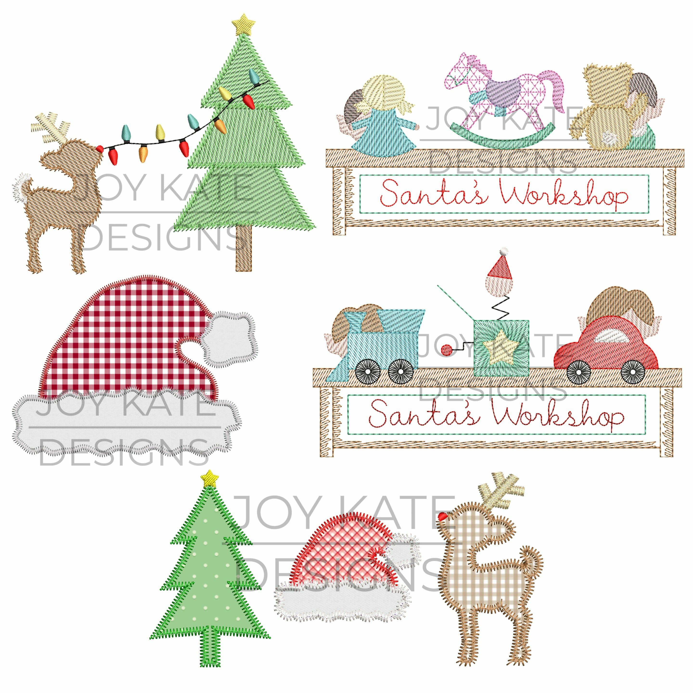 set of 5 christmas applique and machine embroidery designs - Christmas Applique Designs