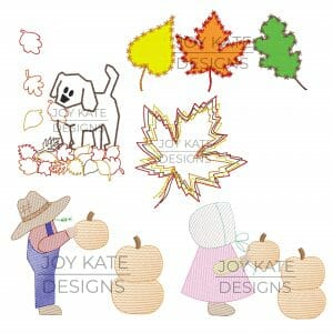 Set of 5 Fall Applique and Machine Embroidery Designs