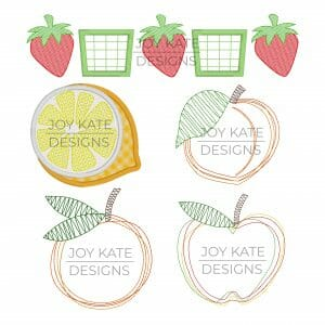Set of 5 Fruit Applique and Machine Embroidery Designs