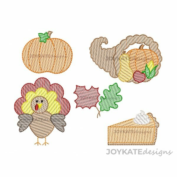 Set of 5 Mini Fall Sketch Fill Designs for Machine Embroidery