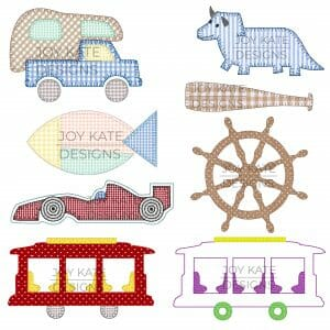Set of 8 Boy Applique and Machine Embroidery Designs