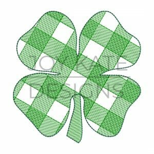 St. Patrick's Day Gingham Clover sketch Fill Embroidery Design