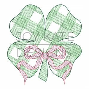 St. Patrick's Day Gingham Shamrock sketch Fill Embroidery Design