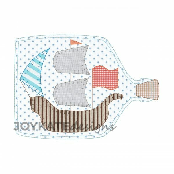 Bean and Blanket Stitch Applique Design for Machine Embroidery