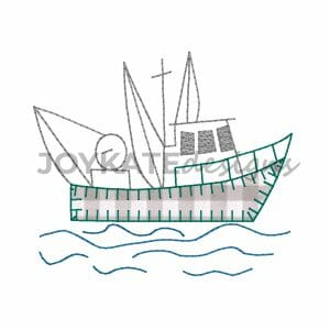 Vintage Bean Stitch and Blanket Stitch Applique Shrimp Boat Design for Machine Embroidery