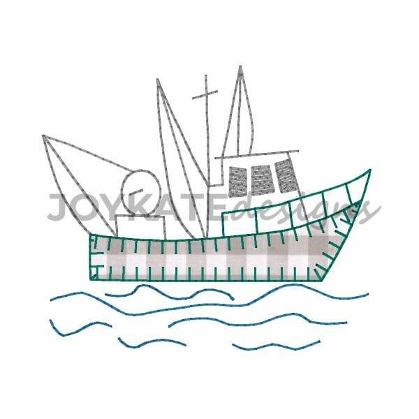 Vintage Bean Stitch and Blanket Stitch Applique Shrimp Boat Design for Machine Embroidery